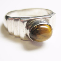 Tigers Eye Step Design Ring Sterling Size 8