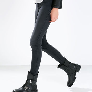 Fur and leather low biker boot