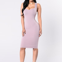 Lips Won't Let Go Dress - Dusty Lavender