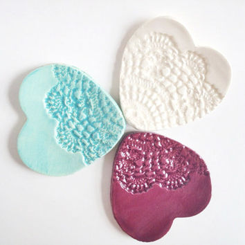 Set of three Ring Holders - Heart Lace Ceramic Jewelry Dish - Gifts for Her