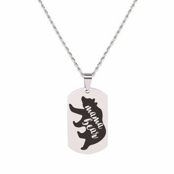 Solid Stainless Steel Inspirational Tag Necklace   - MAMA BEAR