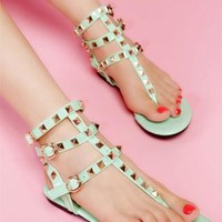 Fashion Mint Green With Rivets Flat Sandals from styleonline