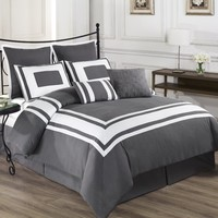 Cozy Beddings Lux Decor Collection 8-Piece Comforter Set with White Stripes, Full, Grey