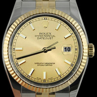 Rolex stick dial datejust men watch SS & gold jubilee bracelet