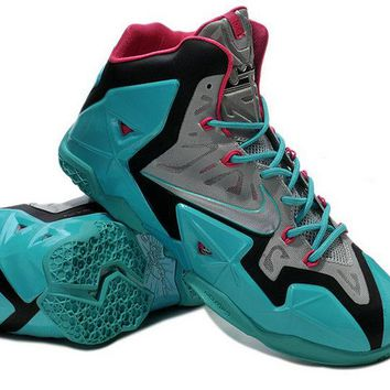 2018 Factory Authentic Nike LeBron 11 (XI) South Beach Sport Turquoise Vivid Pink Slate Grey Brand sneaker