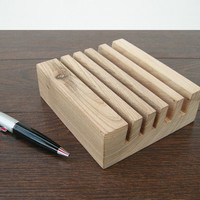 5 slot Wooden Desk Organizer. Walnut Wood Business Card Holder. Wood Letter Holder.