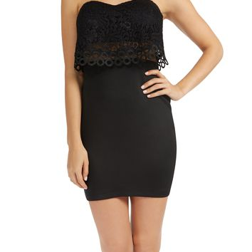 Teeze Me | Strapless Sweetheart Lace Popover Empire Waist Fitted Dress | Black