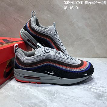KUYOU N830 Nike Air Max 97 VF SW Cushion Sports Running Shoes Gray Orange Black