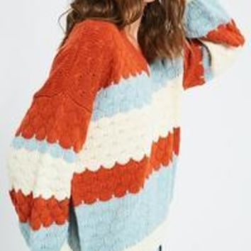 V Neck Textured Multi Color Pull Over Sweater