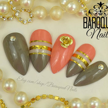 """Taupe & Coral Nails Rose Gold Negative Space Nail Art """"Art Deco"""" Made To Order DIY Press On Nails   Fake Nails   False Nails Glue On Nails"""