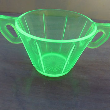 Vintage Green Vaseline Glass Double Handle Sugar Bowl