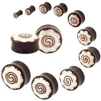 Coconut Shell - Wild Tribe Double Flare Saddle Spiral Organic Plugs - 0G (8mm) - Sold As A Pair