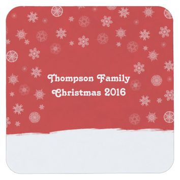 Snowflakes Holiday Design with a Red Background Square Paper Coaster