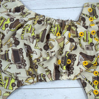 Construction Zone (two-toned snaps- Chocolate caps/Marigold pieces) Printed PUL Traditional, OS Pocket DiaperInstock and ready to ship