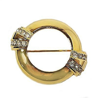 Centennial Brooch Vintage Avon Trifari Art Deco Gold Tone Pin 100 Years V431