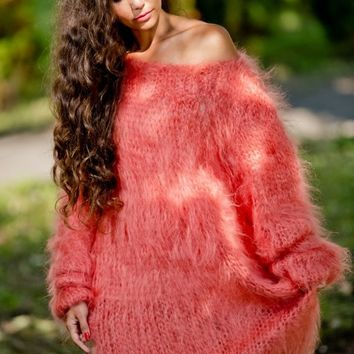Coral Mohair Sweater, Boat Neck Sweater, Knit Sweater, Fluffy Jumper, Men Mohair Sweater, Mohair Fetish, Chunky Sweater, Loose Sweater T97