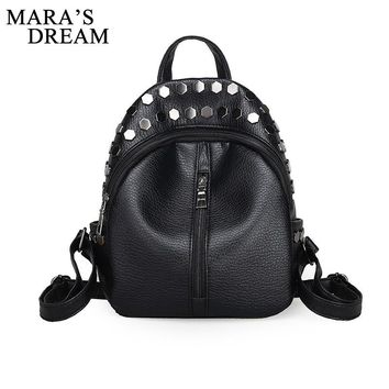 Mara's Dream 2017 Women Backpack Girl Washed Leather Rivets Black Fashion Backpacks for Teenage Women Travel Bag Small Back Pack
