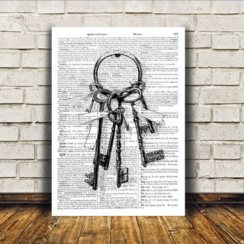 Steampunk print Skeleton keys poster Modern decor Antique art RTA42