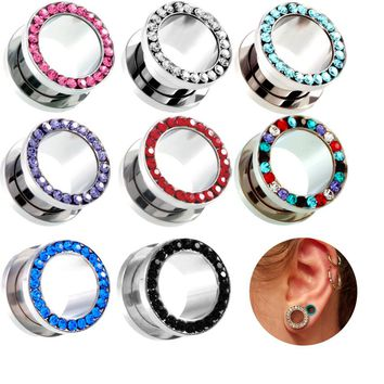1 Pair Stainless Steel Ear Expander Body Piercing Jewelry Single Flare Flesh Tunnel Ear Plugs Expander 2-20mm Ear Stretcher
