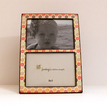 Double 4x6 or 5x7 2 Photo Frame Cute Flowers