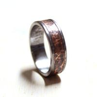 Titanium and copper men ring band ring unisex ring