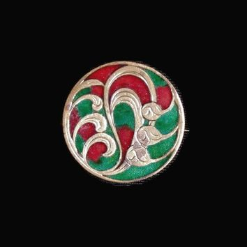 Art Nouveau Brass Circle Pin Brooch With Tulips, Swirls, Inlay Of Green And Red Enamel