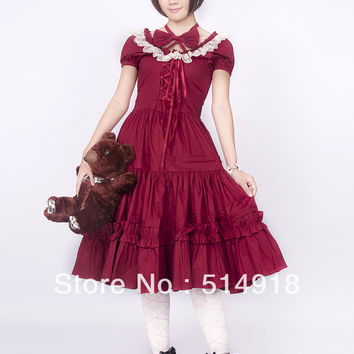 Tomsuit Classic Red Scoop Lace Bow Short Sleeves Sweet Gothic Knee Length Lolita Dress with Ruffles Alternative Measures - Brides & Bridesmaids - Wedding, Bridal, Prom, Formal Gown
