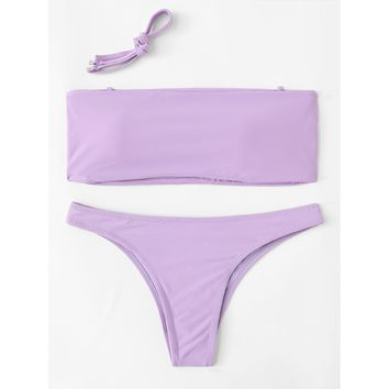 Women's Lavender Bandeau Top High Cut Bottoms Two Piece Swimsuit Bikini Set with Detachable Straps