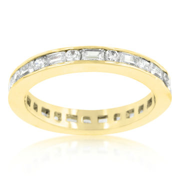 Miral Alternating Baguette Eternity Stackable Ring | 3ct | Cubic Zirconia | 18k Gold