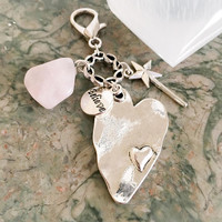 Rose Quartz Crystal, Big, Beautiful Heart Charm, Believe Tag, Cute Little Wand Purse Charm/ Zipper Pull w/ FREE Bag & Angel Message Card.