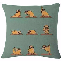 Pug named Namaste pillow cover