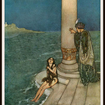"Vintage Art Print Wall  Decor Nursery Print ""The Little Mermaid"" by Edmund Dulac, 8.5 x 11, Reproducttion Unframed"