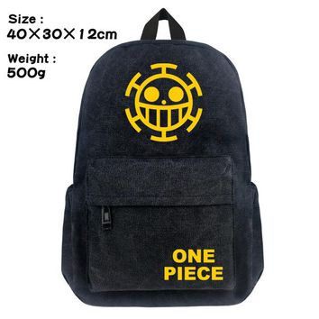 Anime Backpack School FVIP 16 inch kawaii cute One Piece Backpack Black Color Canvas School Bag for Young Cute Design Large Capacity Travel Daypack AT_60_4