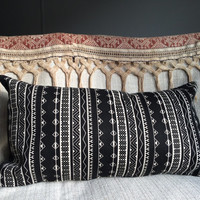 """geometric tribal design pillow ,12""""x20"""".Throw pillow cover,black and white  pattern ,"""