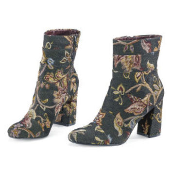 TAPESTRY ANKLE BOOTS