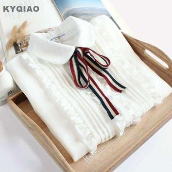 DCCKON3 KYQIAO Lolita shirt 2018 mori girls spring KAWAI long sleeve peter pan collar bowknot white blouse Japanese cosplay costumes