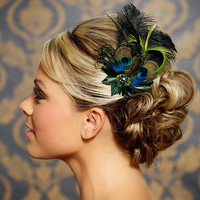 Jade, Moss Green Emerald Green Wedding Hair Accessories Peacock Feather Bridal Head Piece Fascinator Hair Clip - Made to Order - BRIDGET