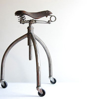 Bicycle stool. Handcrafted, vintage industrial stool