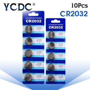 10pcs/pack CR2032 Lithium Button Battery BR2032 DL2032 ECR2032 Cell Coin Batteries 3V CR 2032 For Watch Electronic Toy Remote
