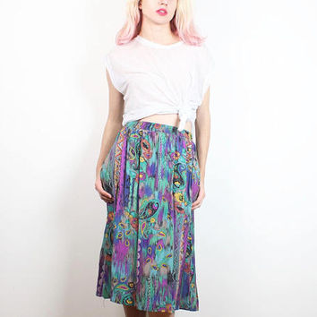 Vintage 1980s Skirt Teal Green Purple Southwestern Stripe Paisley Floral Print Midi Skirt 80s Skirt Boho Rayon Knee Length M Medium L Large
