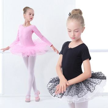 Girls Ballet Tutu Kids Gymnastics Swimsuit Tulle Skirted Leotards Pink Black Ballet Costumes With Dot Tutus