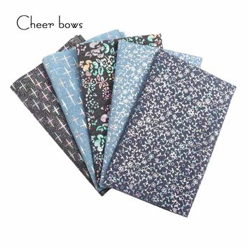 40*50CM Cotton Denim Fabric Flower Vine Printed DIY Doll Materials Christmas Apparel Sewing Accessories For Tissue Kids Bedding
