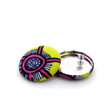 Neon Yellow and Pink Earrings // Colorful Jewelry // African Fabric Earrings // Gifts under 25 // Lightweight Jewellery