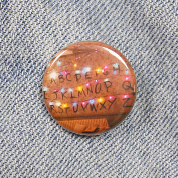 Stranger Things Christmas Lights 1.25 Inch Pin Back Button Badge