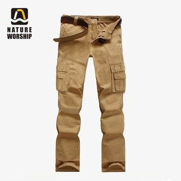 Outdoors Men Camping Hiking Camouflage Cargo Cotton Pants Plus Size Multi-pocket Overalls Trousers