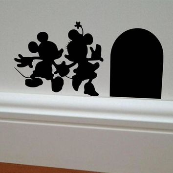 Mickey and Minnie House Vinyl DIY wall sticker home decor Mouse 3D Wall Decal cartoon car stickers kids room or living room
