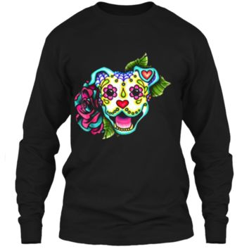 Smiling Pitbull in White - Day of the Dead Sugar Skull Dog LS Ultra Cotton Tshirt