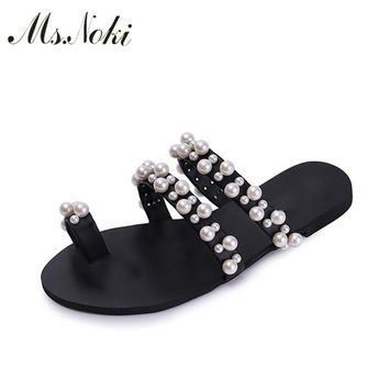 Ms. Noki Pearl soft flat bling bling women shoes Summer 2017 fashion casual string bead shoes non-slip sole comfortable for girl