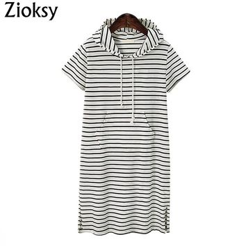 New Summer Dress Women Striped Short-Sleeve Hoodies Slim Sweatshirt Long Hoodie Dress