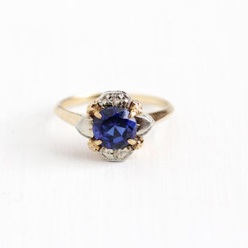 Vintage 14k Rose & White Gold Created Blue Sapphire Solitaire Ring - 1940s Size 5 1/2 Two Tone Flower September Birthstone Fine Jewelry